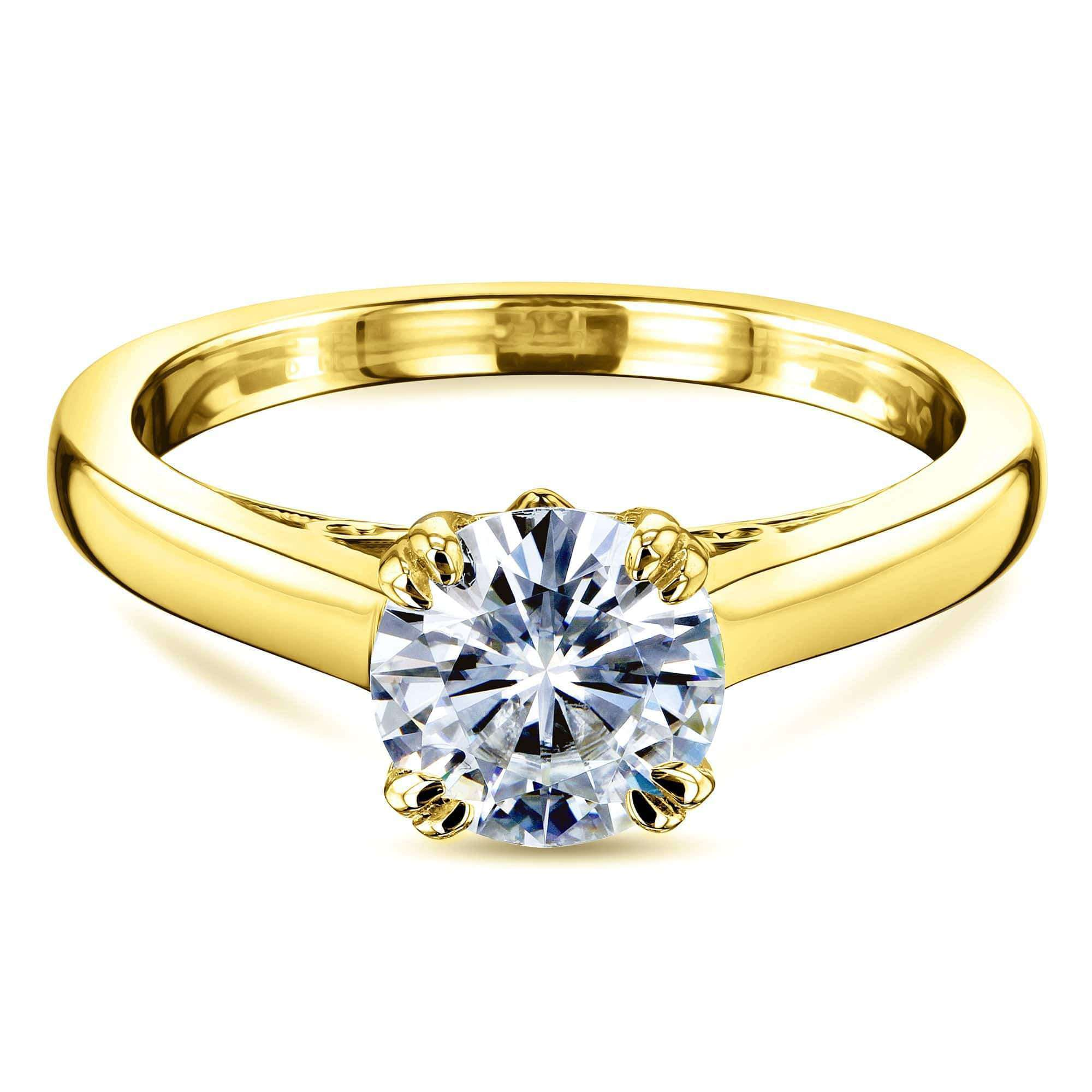 Best 1ct Round Forever One Moissanite Solitaire W-Prong Ring - yellow-gold 4