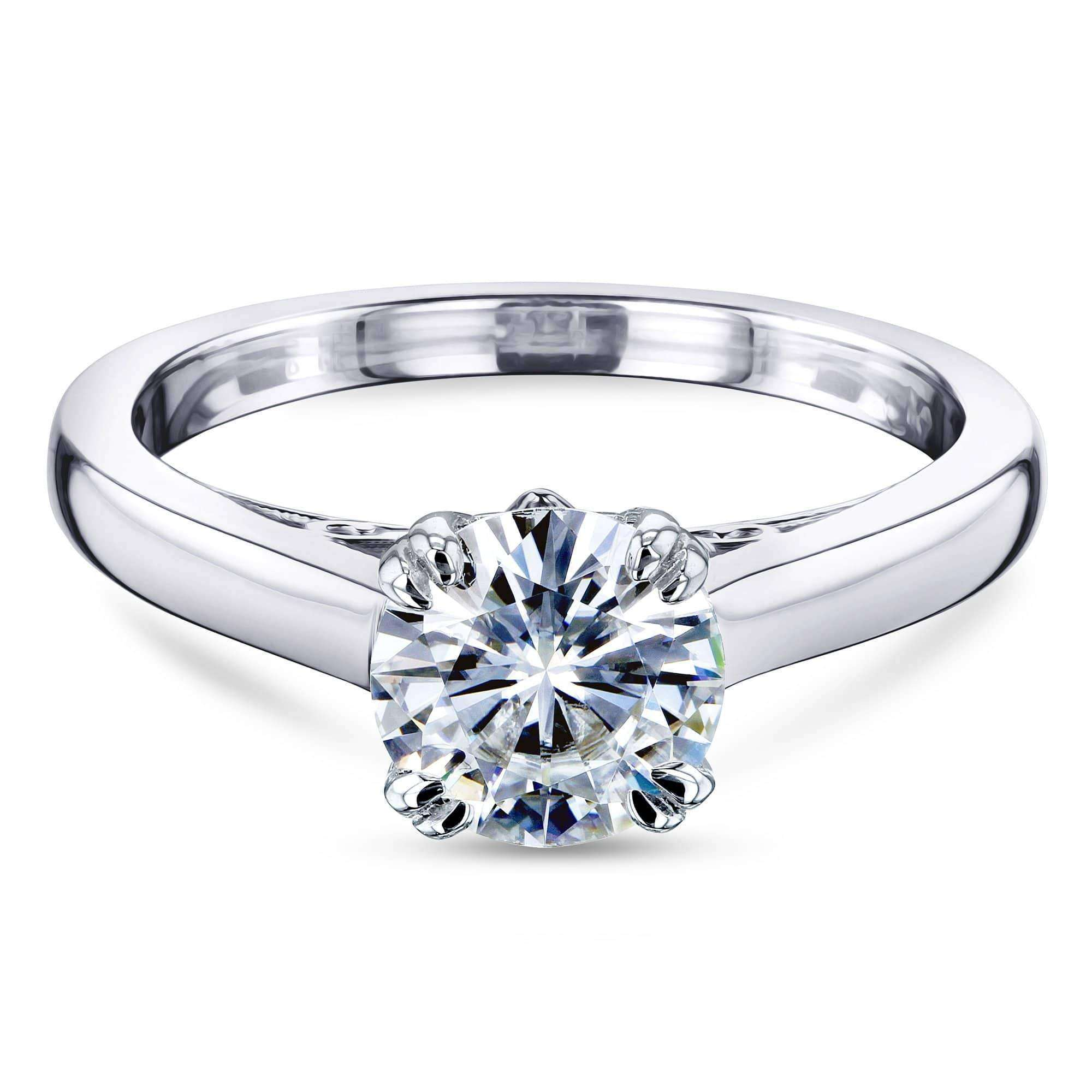 Best 1ct Round Forever One Moissanite Solitaire W-Prong Ring - white-gold 5.5