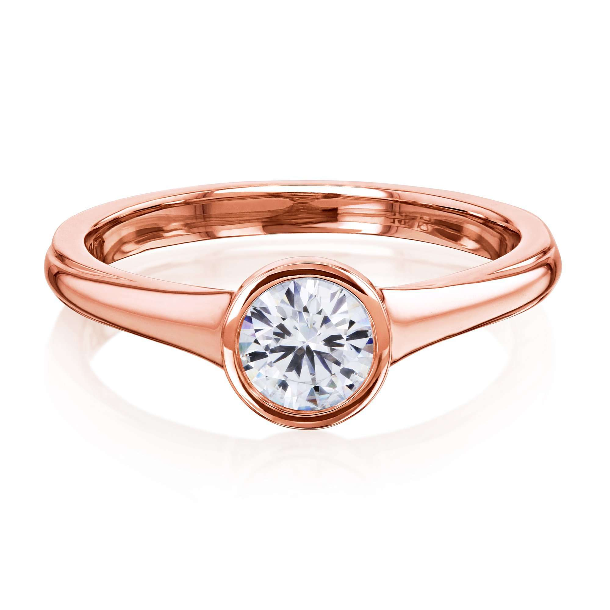 Cheap 0.5ct Round Forever One Moissanite Bezel - rose-gold 6.0