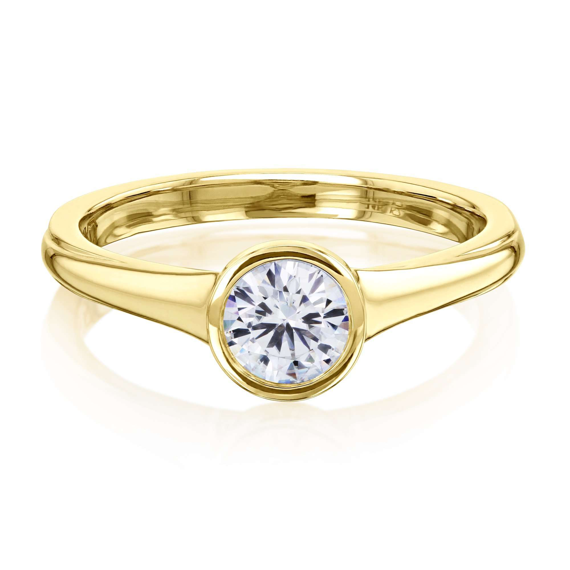 Best 0.5ct Round Forever One Moissanite Bezel - yellow-gold 8.0