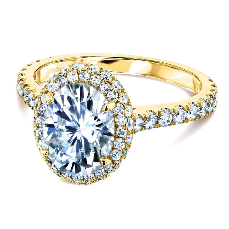 Kobelli Oval Moissanite Drop Halo Ring
