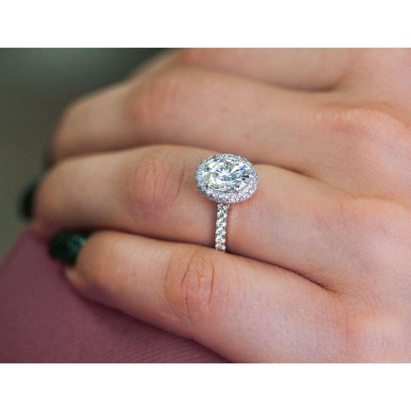 Kobelli Oval Forever One Moissanite Drop Halo Ring