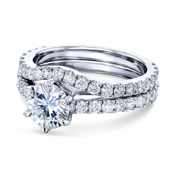Kobelli 1ct Forever One Moissanite 6-Prong Ring Lab Diamond Mounted Bridal Set MZFO62714R-EDLG/4.5W
