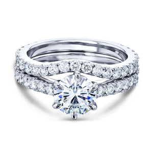 Kobelli 1ct Moissanite 6-Prong Ring Lab Diamond Mounted Bridal Set