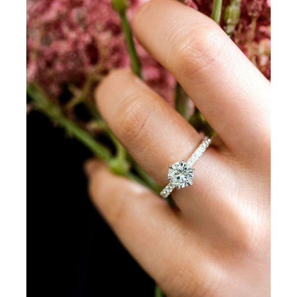Kobelli 1ct Forever One Moissanite 6-Prong Ring Lab Diamond Band