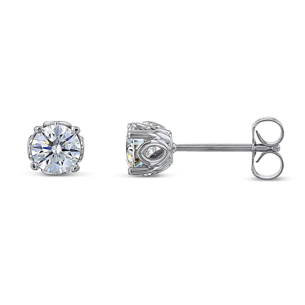 Kobelli Orchid 5mm Moissanite Studs 14k White Gold