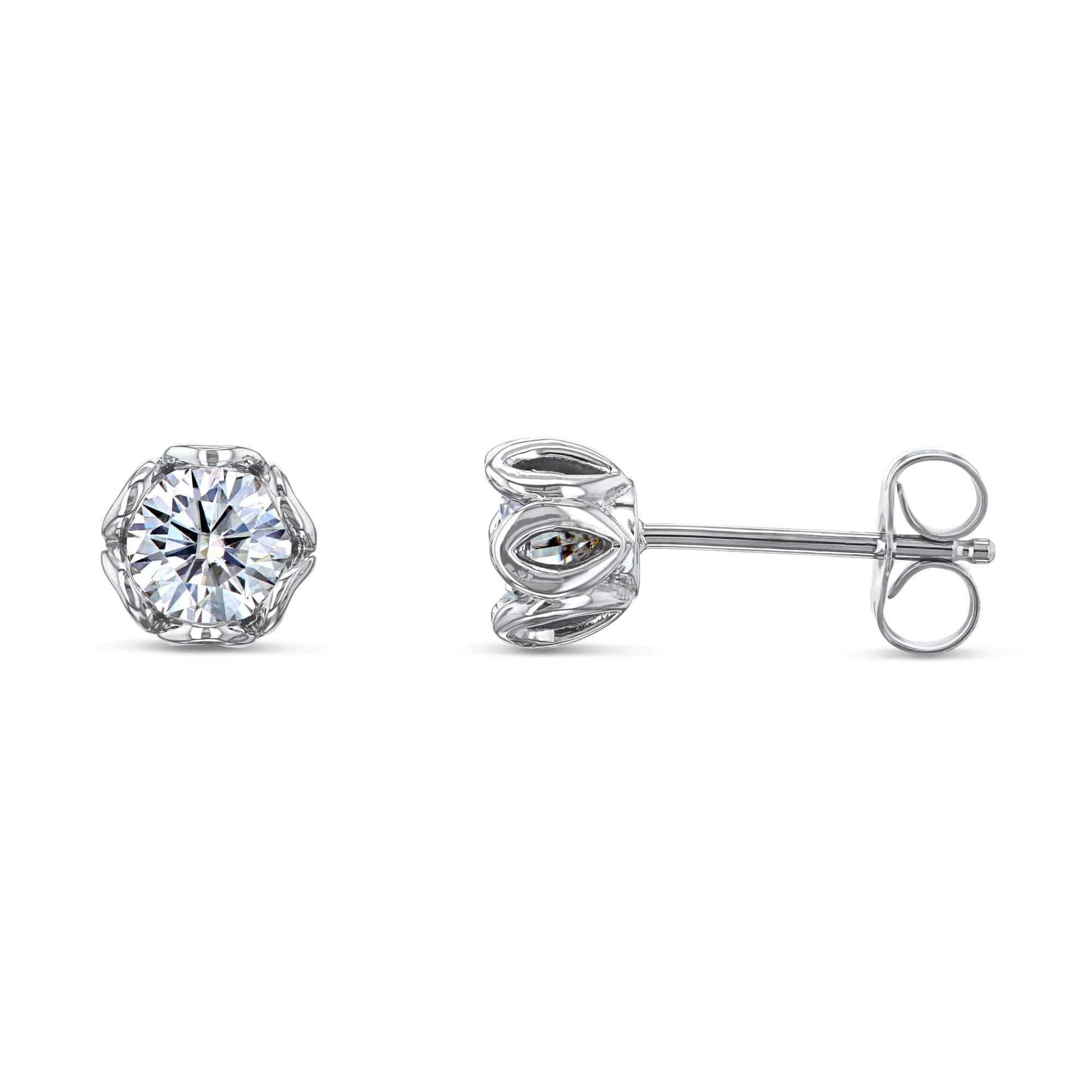 Lily 5mm Moissanite Studs 14k White Gold