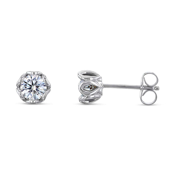 Kobelli Lily 5mm Moissanite Studs 14k White Gold
