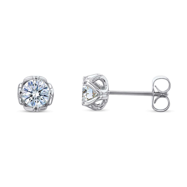 Kobelli Tulip 5mm Moissanite Studs 14k White Gold