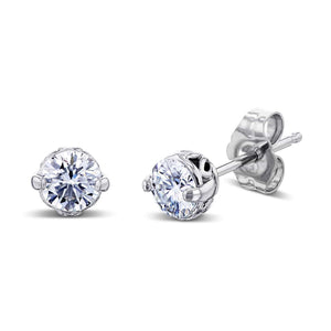 Sunflower 3/4ctw Diamond Studs 14k White Gold
