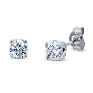 Rose Bud 1ctw Diamond Studs 14k White Gold