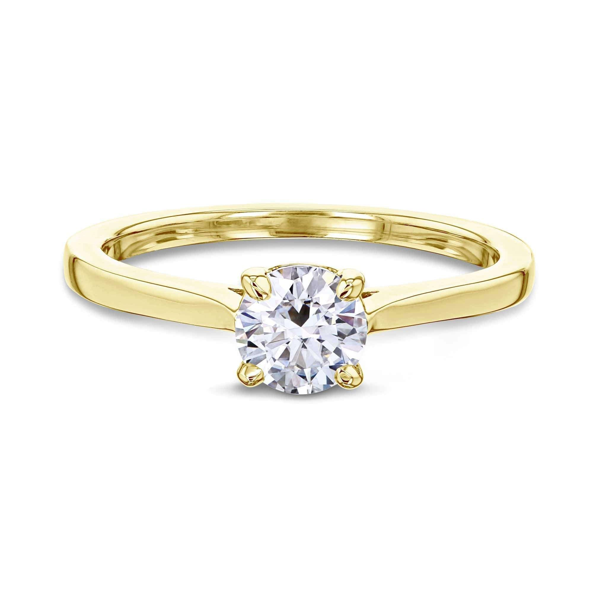 Compare 1/2ct Round Moissanite Solitaire Ring - yellow-gold 10.5 Kobelli H-I