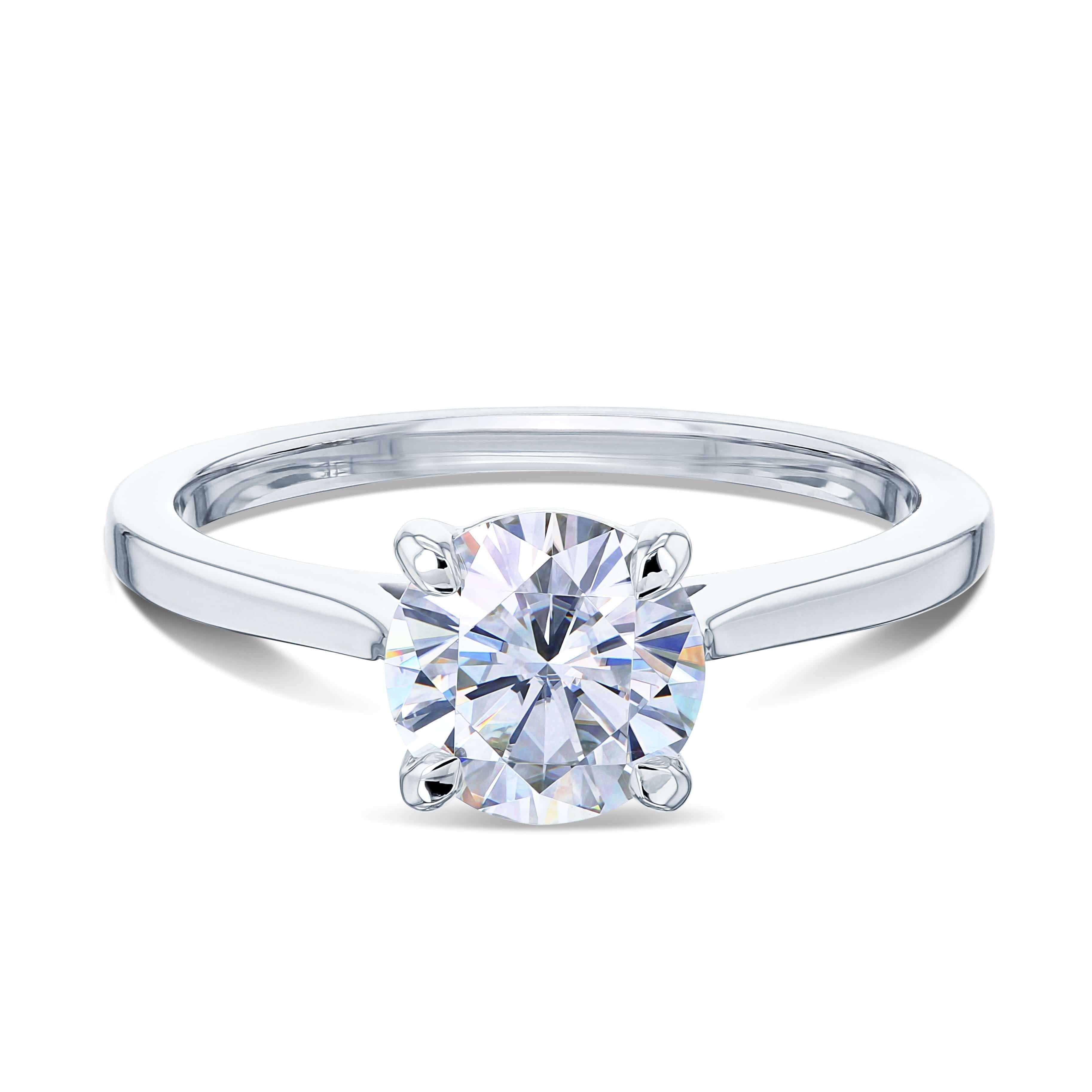 Top 1ct Round Forever One Moissanite Solitaire Ring - white-gold 7.0