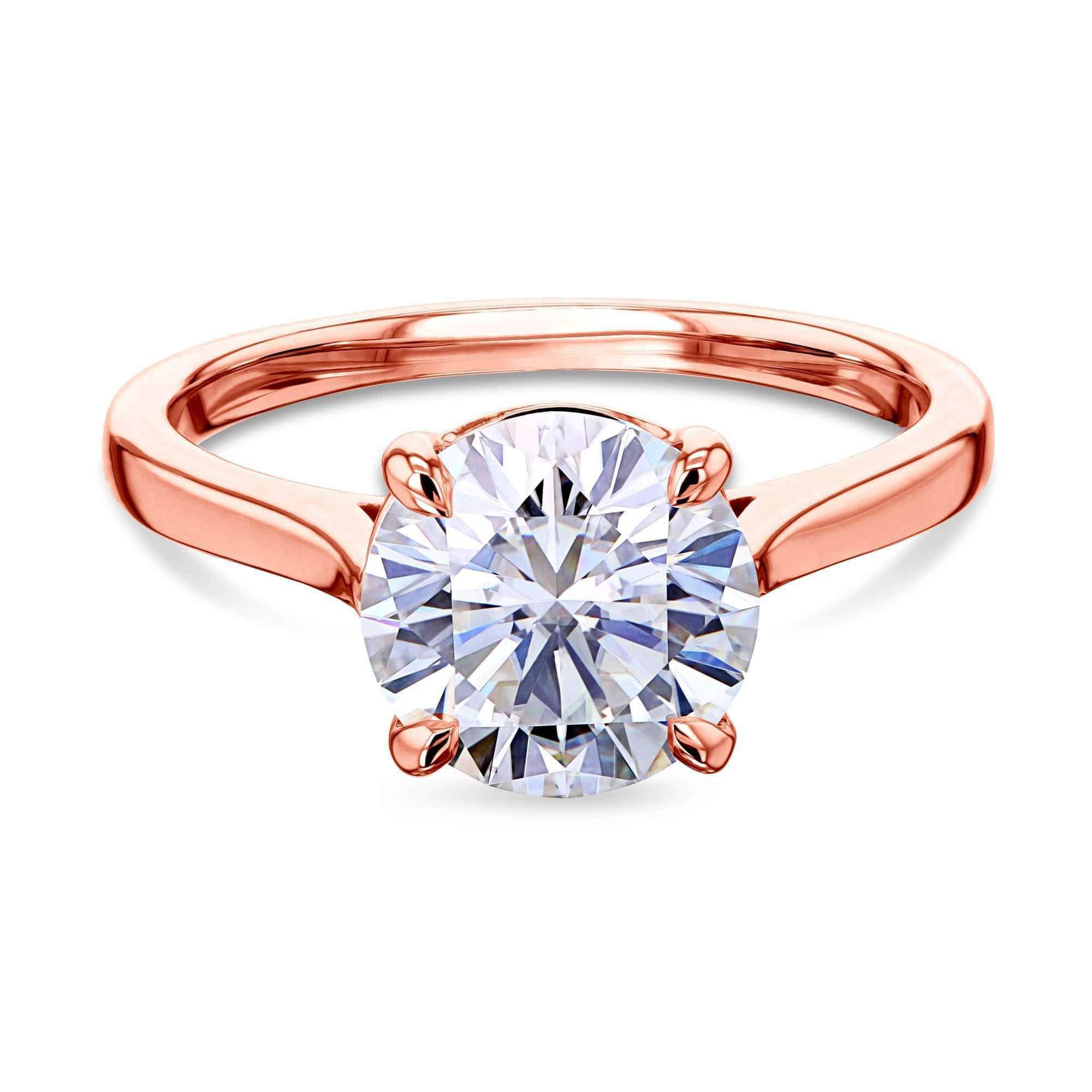Best 1.9ct Round Forever One Moissanite Solitaire Ring - rose-gold 9.5