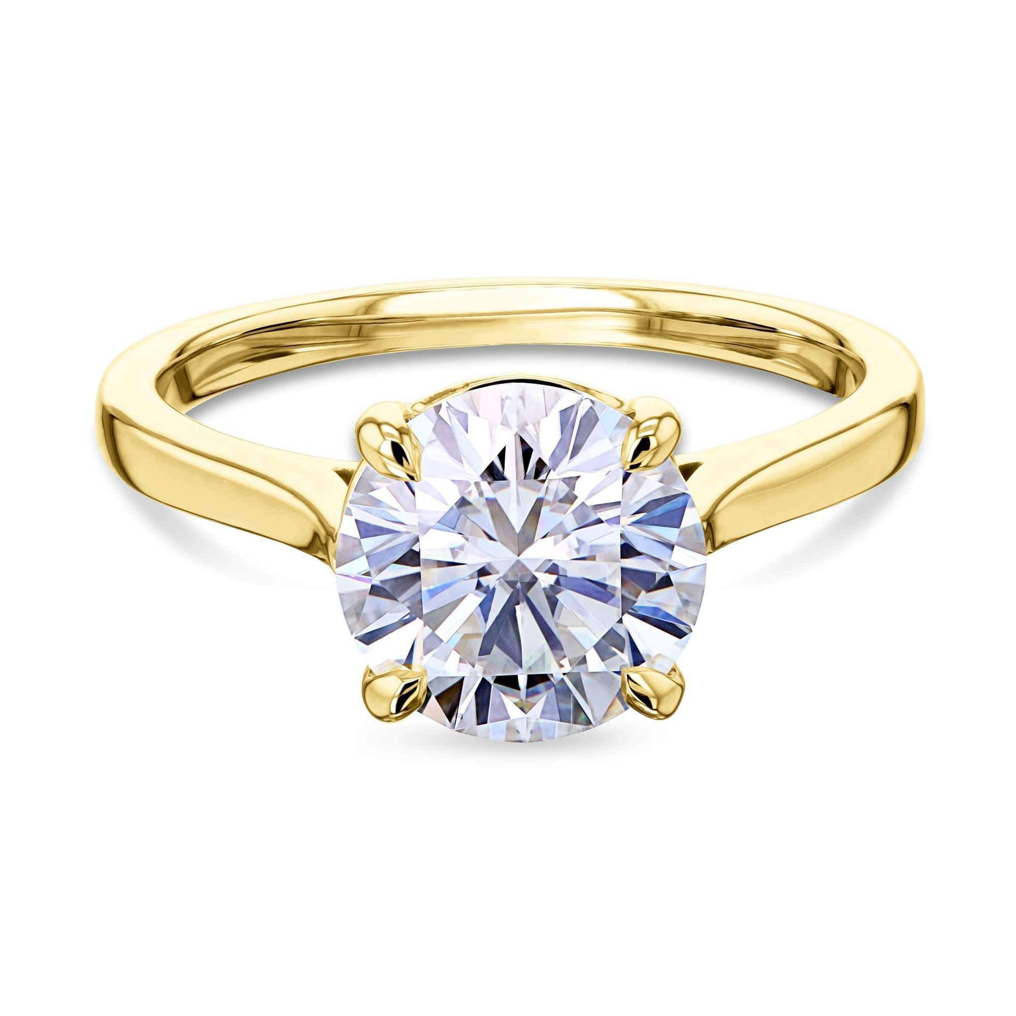Coupons 1.9ct Round Moissanite Solitaire Ring - yellow-gold 10.5 Kobelli H-I