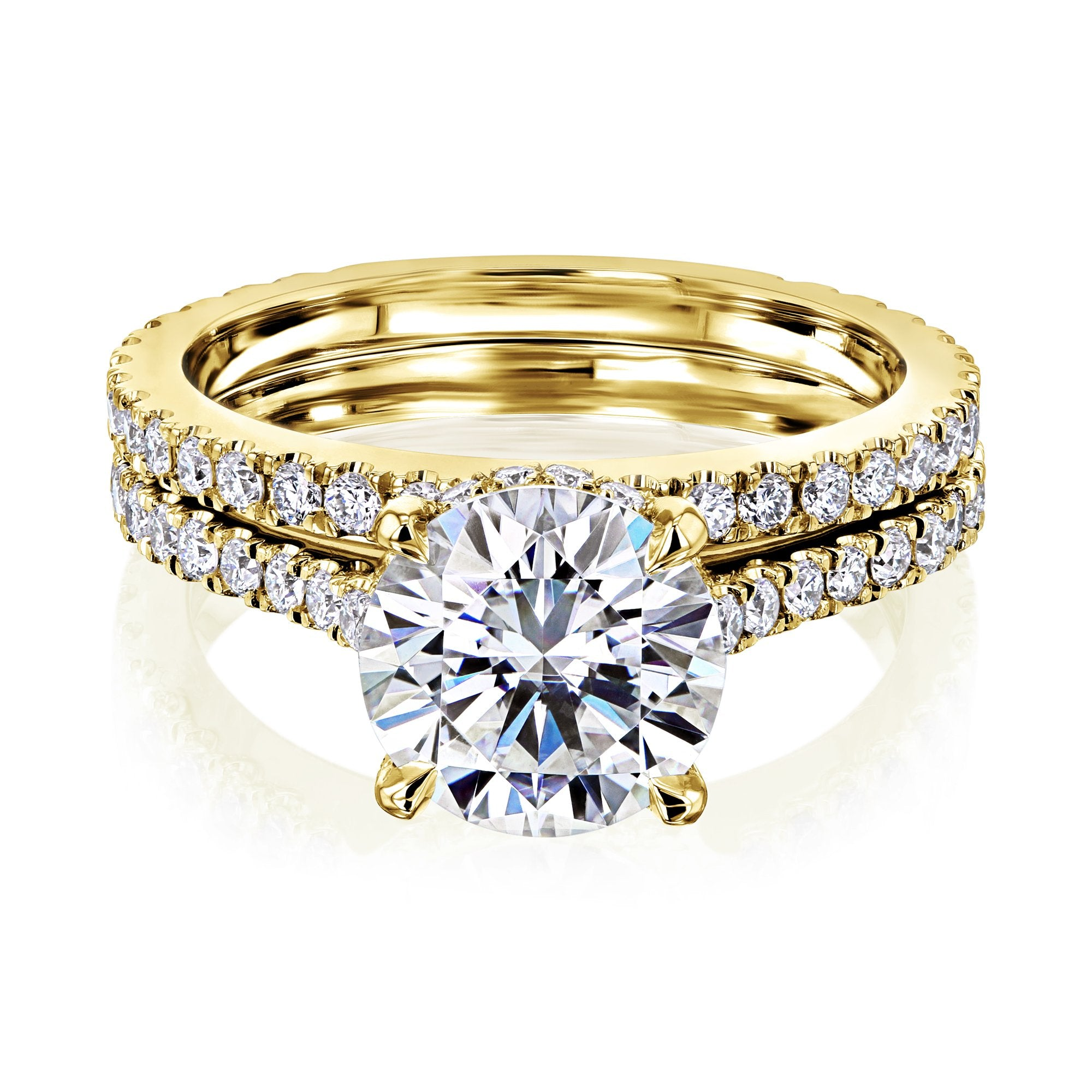 Discounts 2ct Round Moissanite Fancy Hidden Halo Set - yellow-gold 7.0 Kobelli F-G