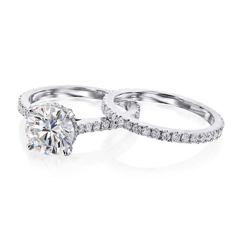 Kobelli 2ct Round Moissanite and 7/8ct TDW Lab Grown Diamond Bridal Set