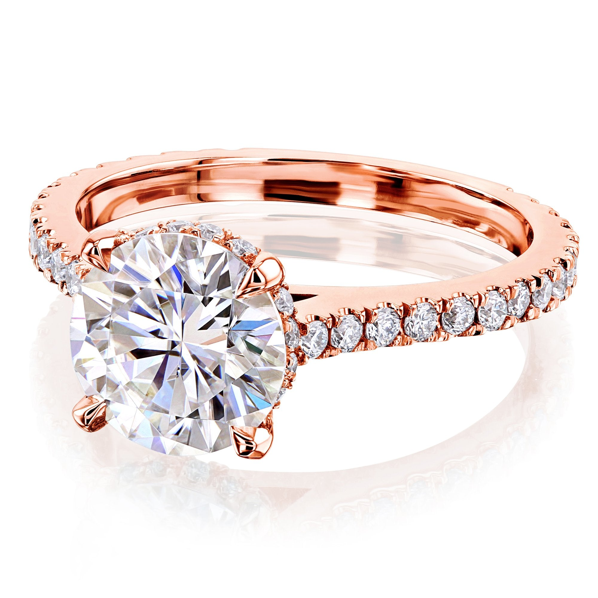 Reviews 2ct Round Forever One Moissanite Fancy Hidden Halo - rose-gold 9.5