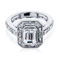 Kobelli Art Deco Emerald Moissanite Engagement Rings