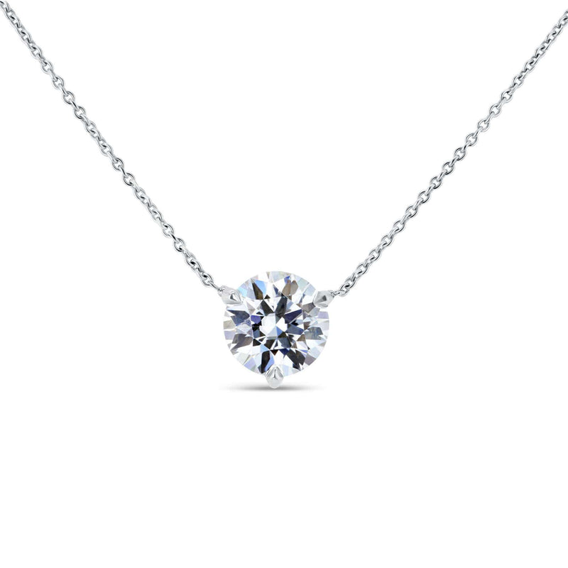 Kobelli 1.5ct Moissanite Solitaire 3-Prong Necklace MZ62777R-150/W