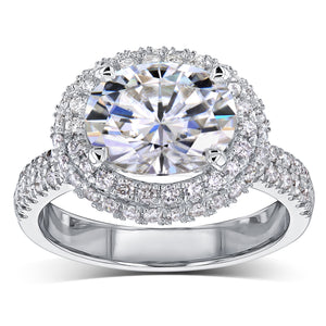 3ct Oval Moissanite Double Halo East-West Ring