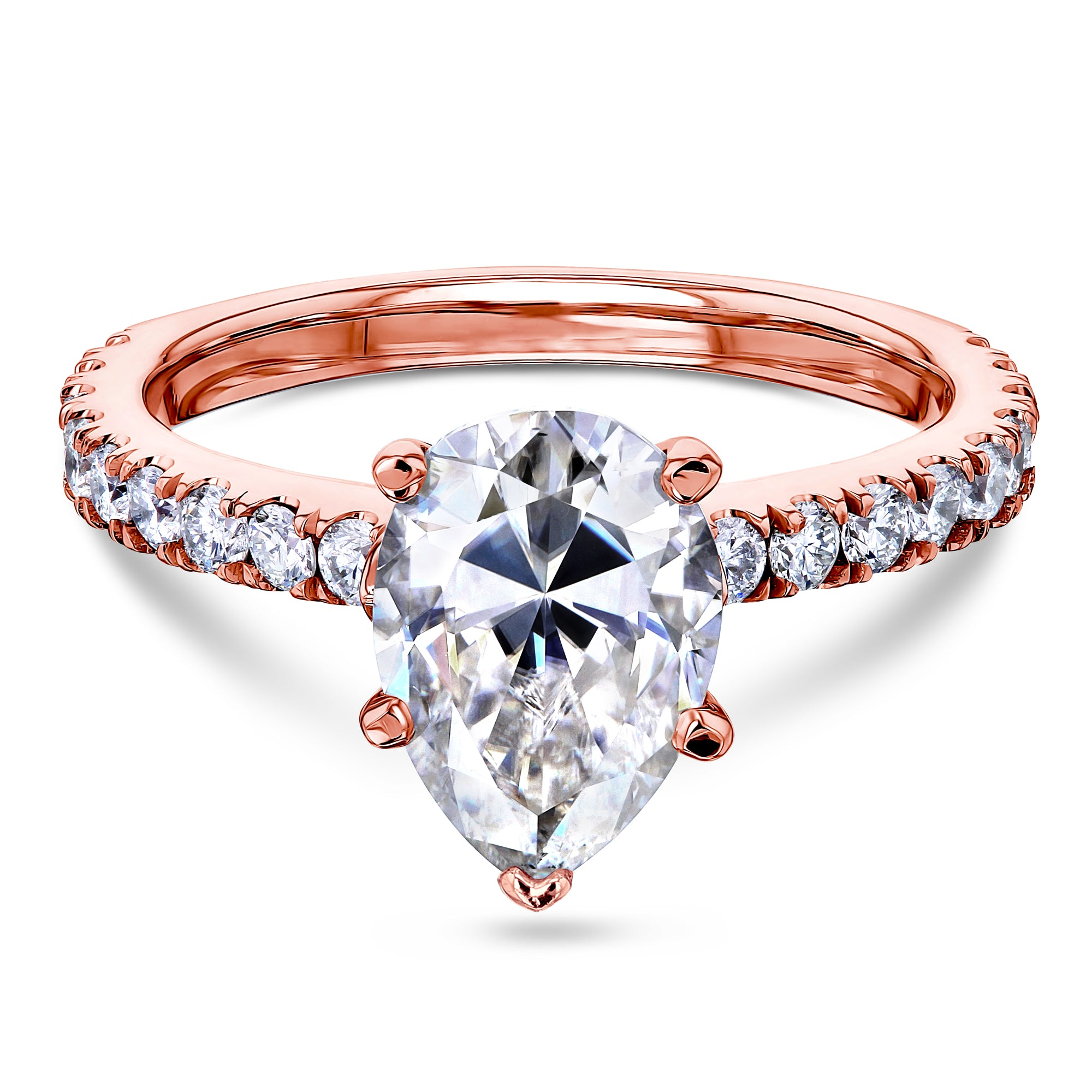 Cheap 2.1ct Pear Moissanite Ring - rose-gold 7.5 Forever One D-E-F