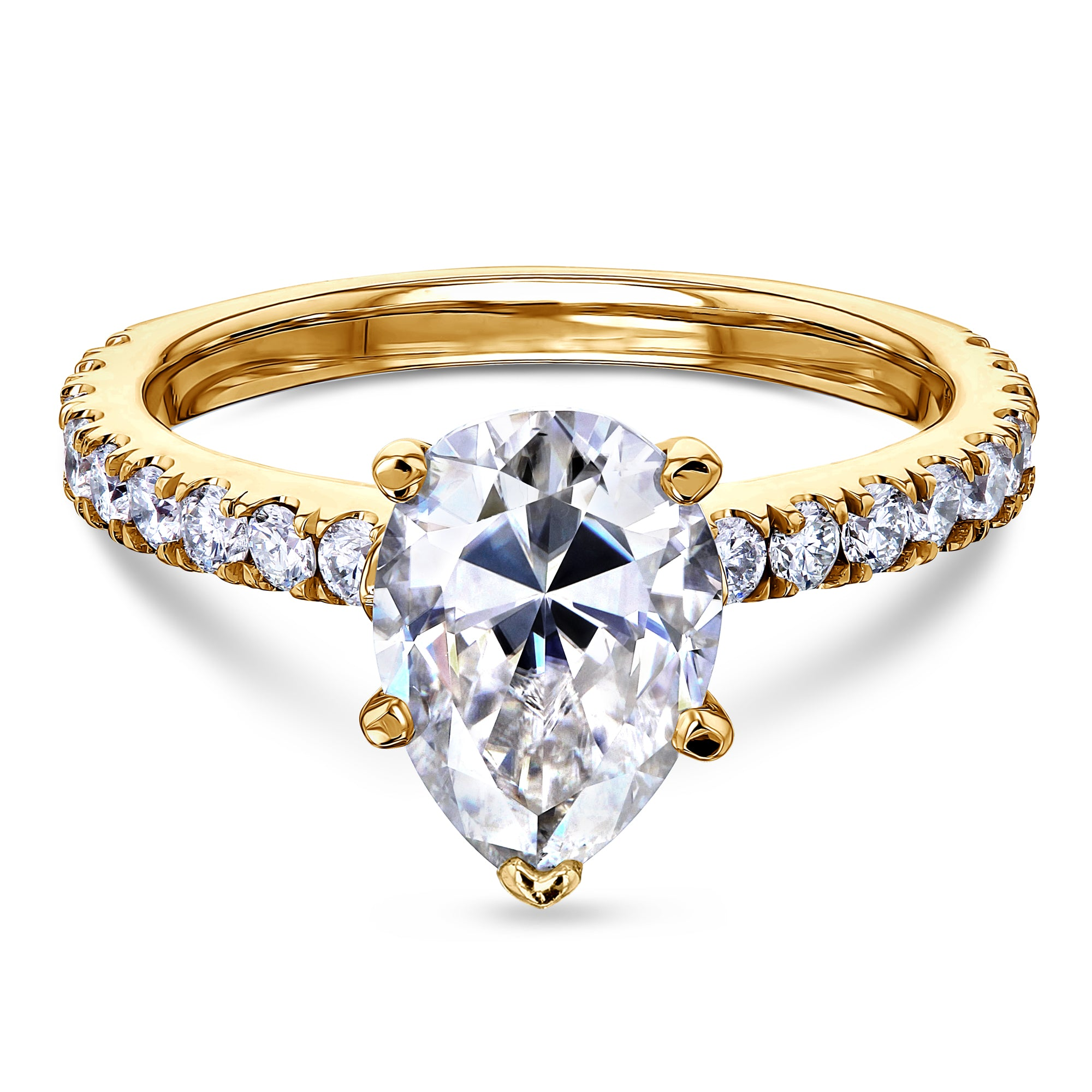Discounts 2.1ct Pear Moissanite Ring - yellow-gold 9.5 Forever One D-E-F