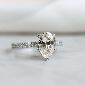 2.1ct Pear Moissanite Ring
