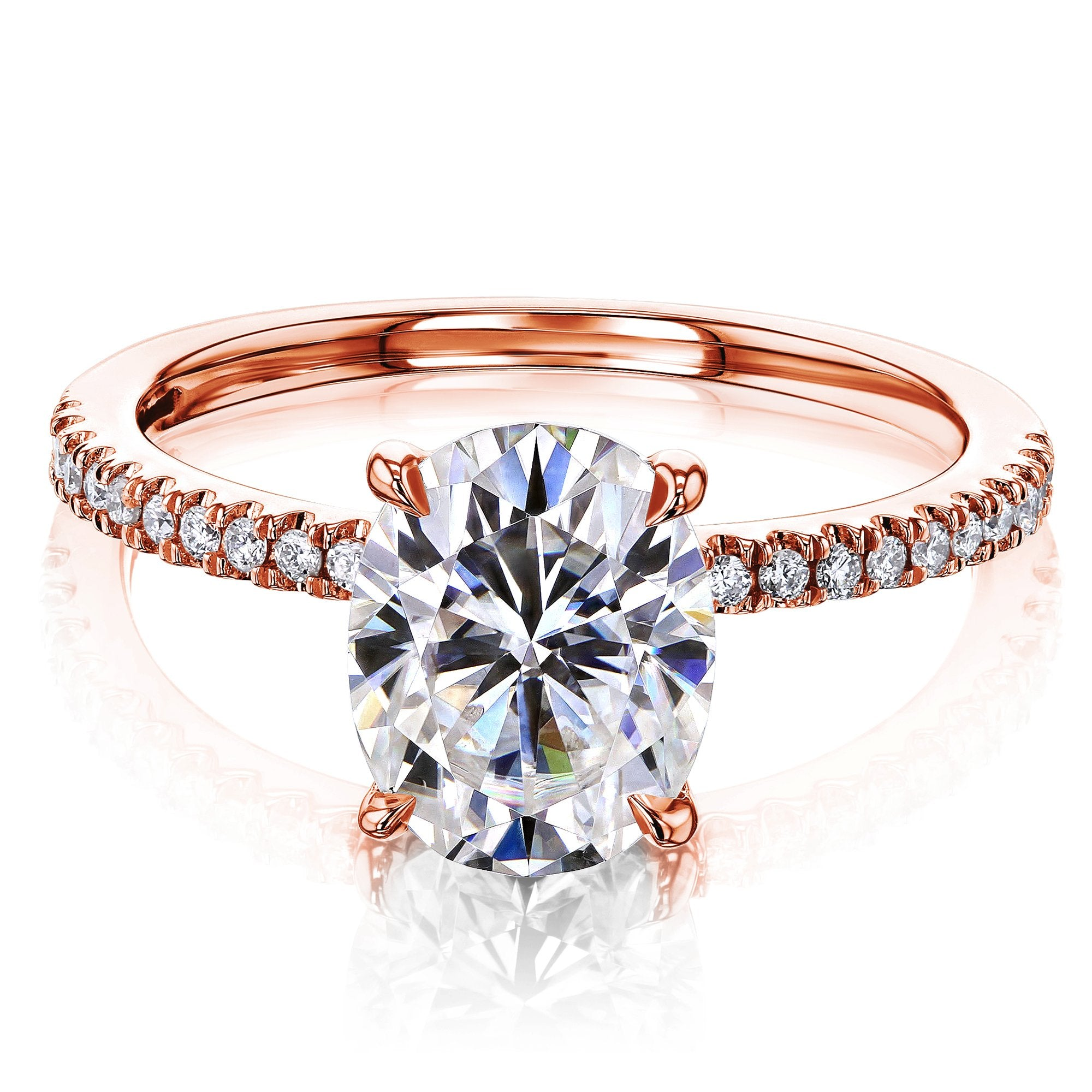 Compare 2.1ct Oval Forever One Moissanite & 1/10ct Natural Diamond - rose-gold 8.5
