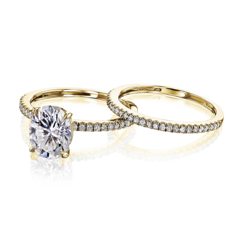 Kobelli 2.1ct Oval Moissanite Slender Diamond Shank Bridal Rings