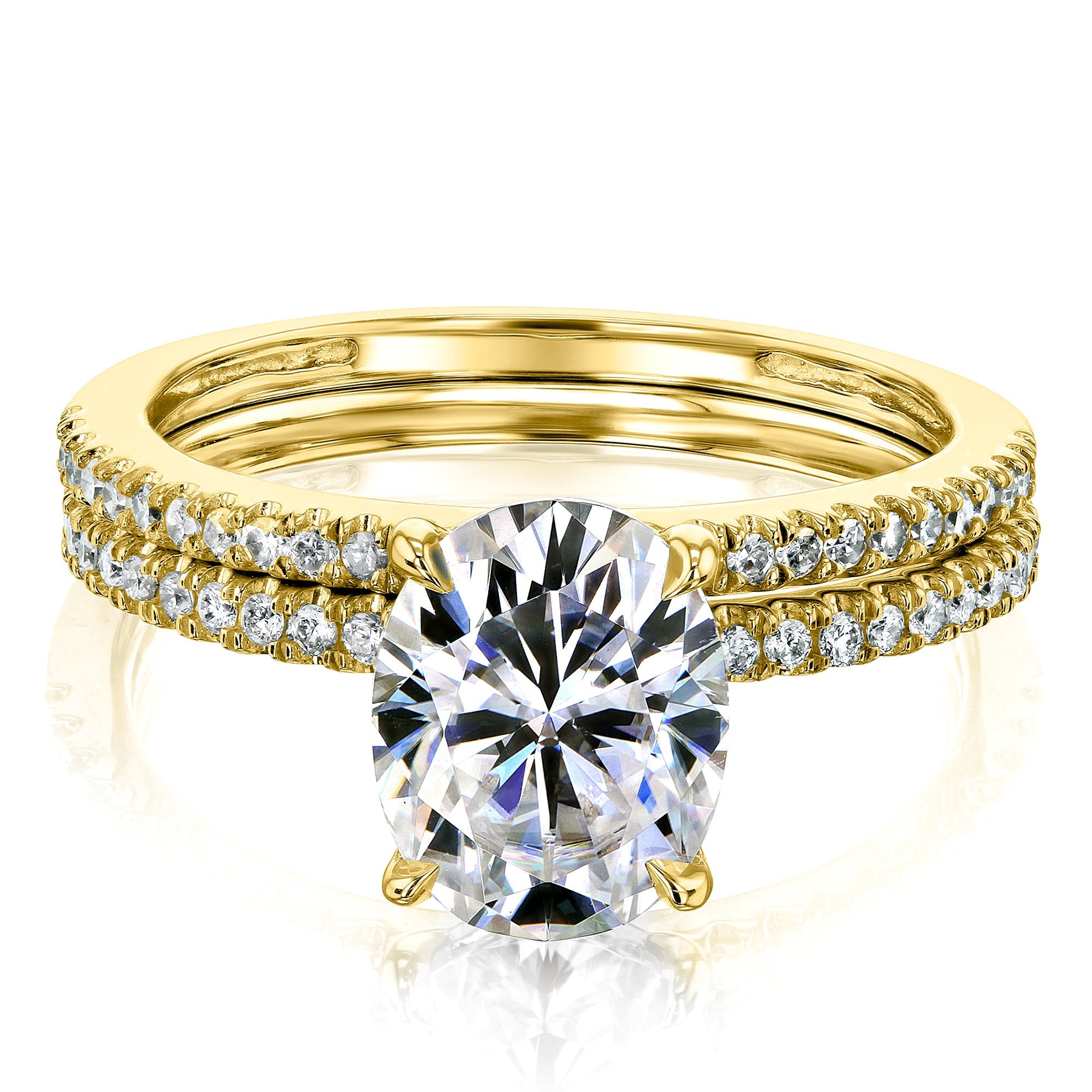 Coupons 2.1ct Oval Moissanite & 1/4ct Natural Diamond 2-Piece - yellow-gold 4.0 Kobelli F-G