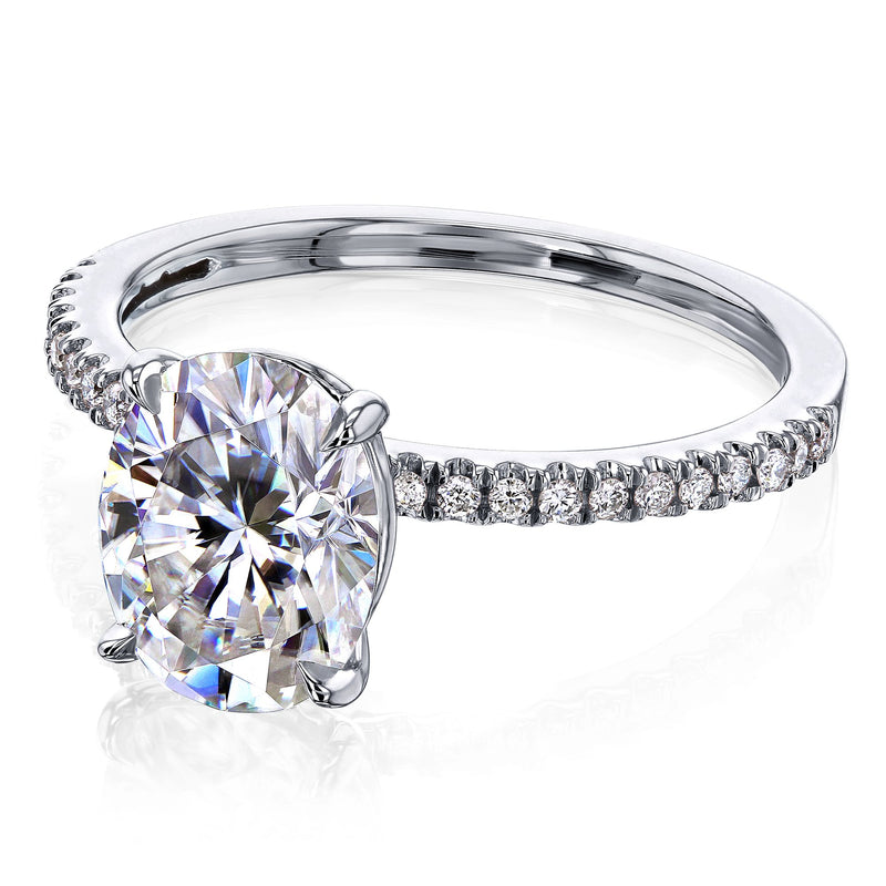 Kobelli 2.1ct Oval Moissanite Slender Diamond Shank Engagement Ring