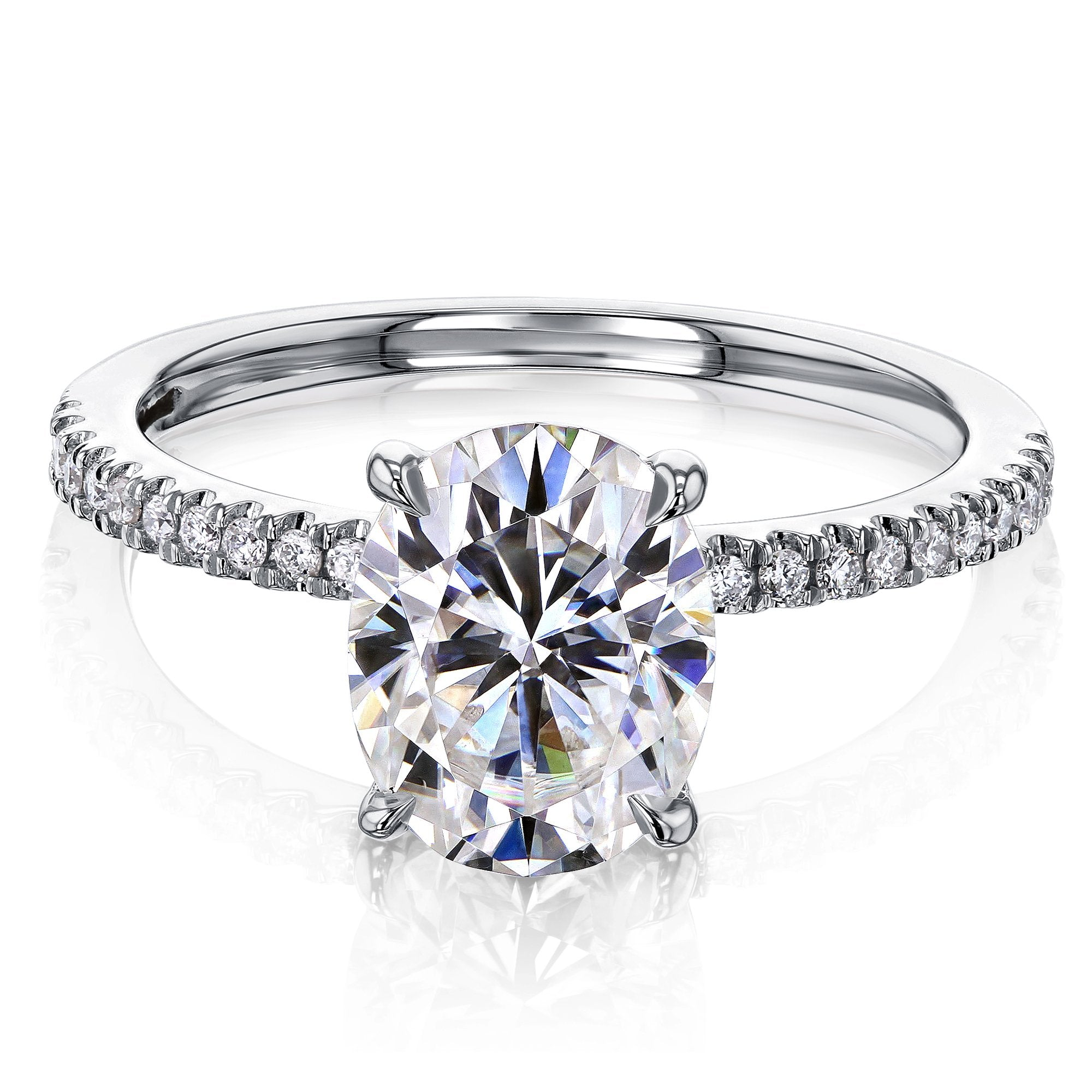 Promos 2.1ct Oval Forever One Moissanite & 1/10ct Natural Diamond - white-gold 7.0