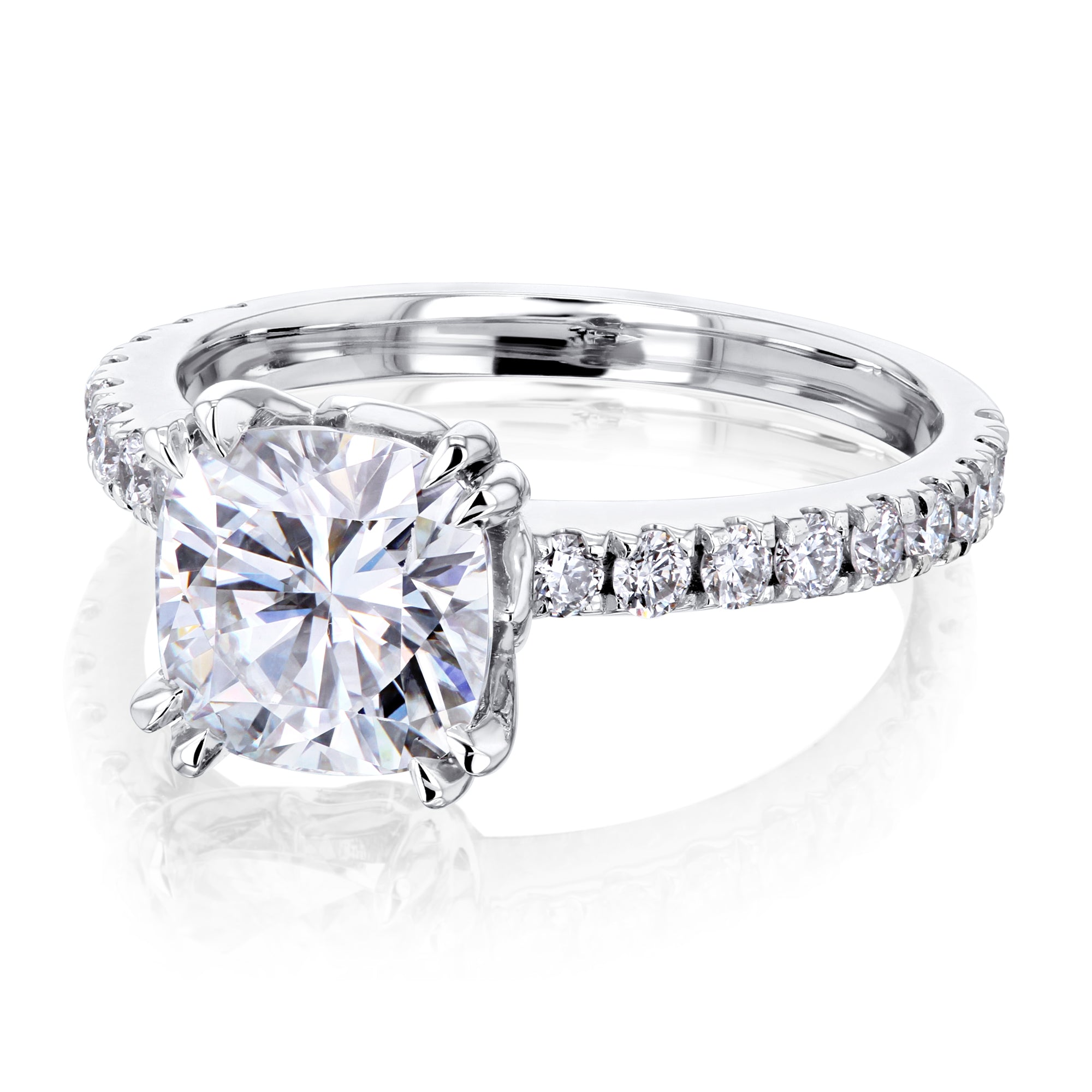 Reviews 2ct Cushion Forever One Moissanite Ring - white-gold 9.0
