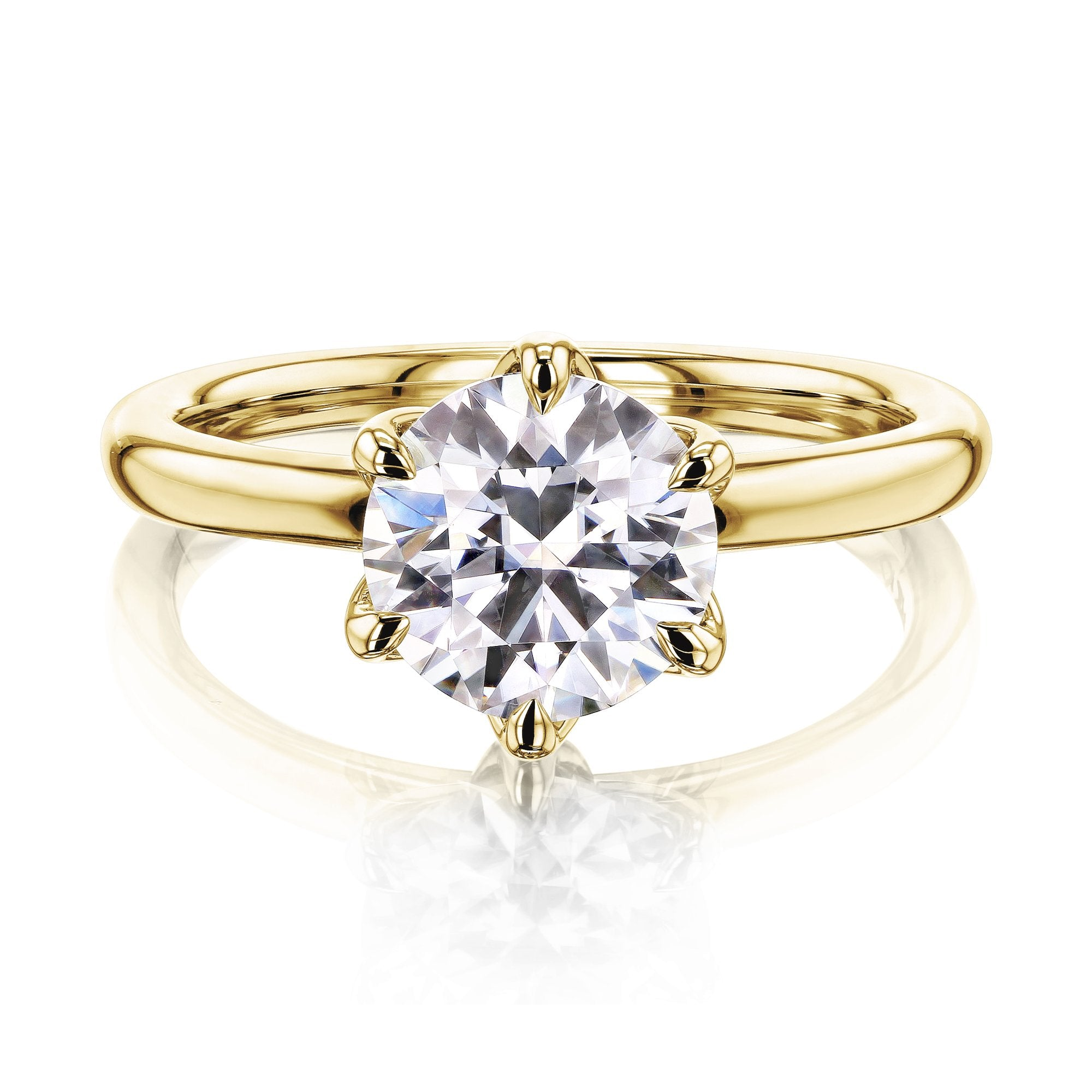 Reviews 1.5ct Round Forever One Floating Tulip Comfort Fit - yellow-gold 5.0