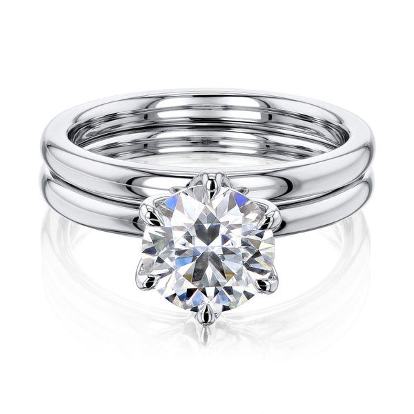 Kobelli 1.5ct Round Forever One Moissanite 6-Prong Solitaire Floating Bridal Set