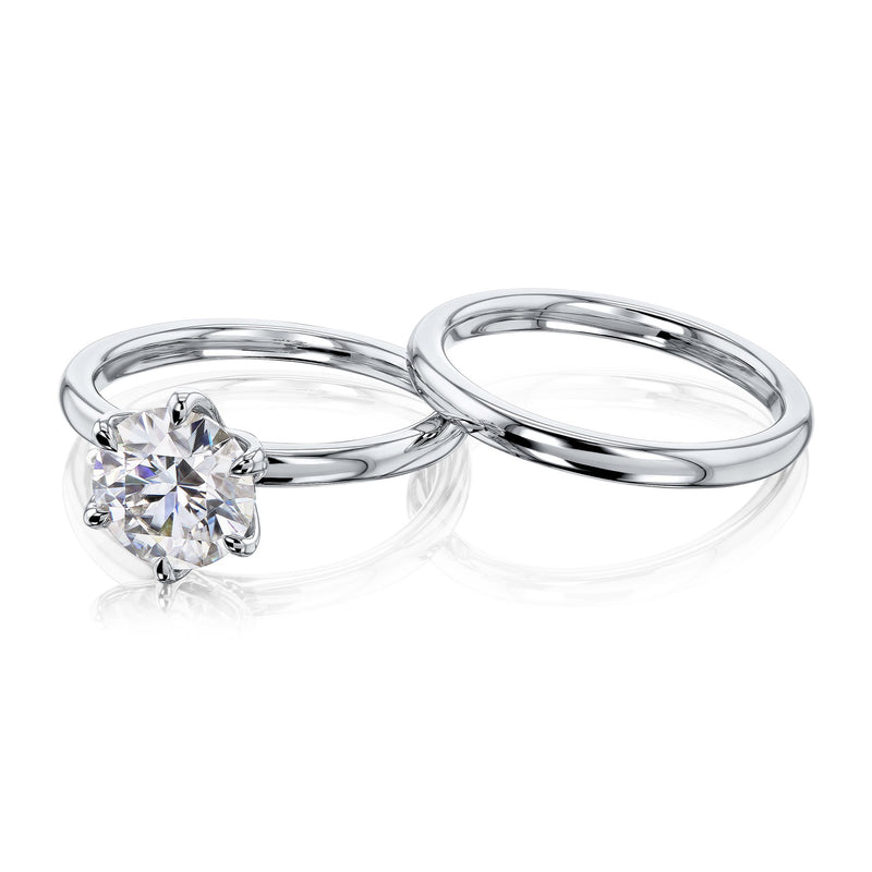 Kobelli 1.9ct Round Forever One Moissanite 6-Prong Solitaire Floating Bridal Set