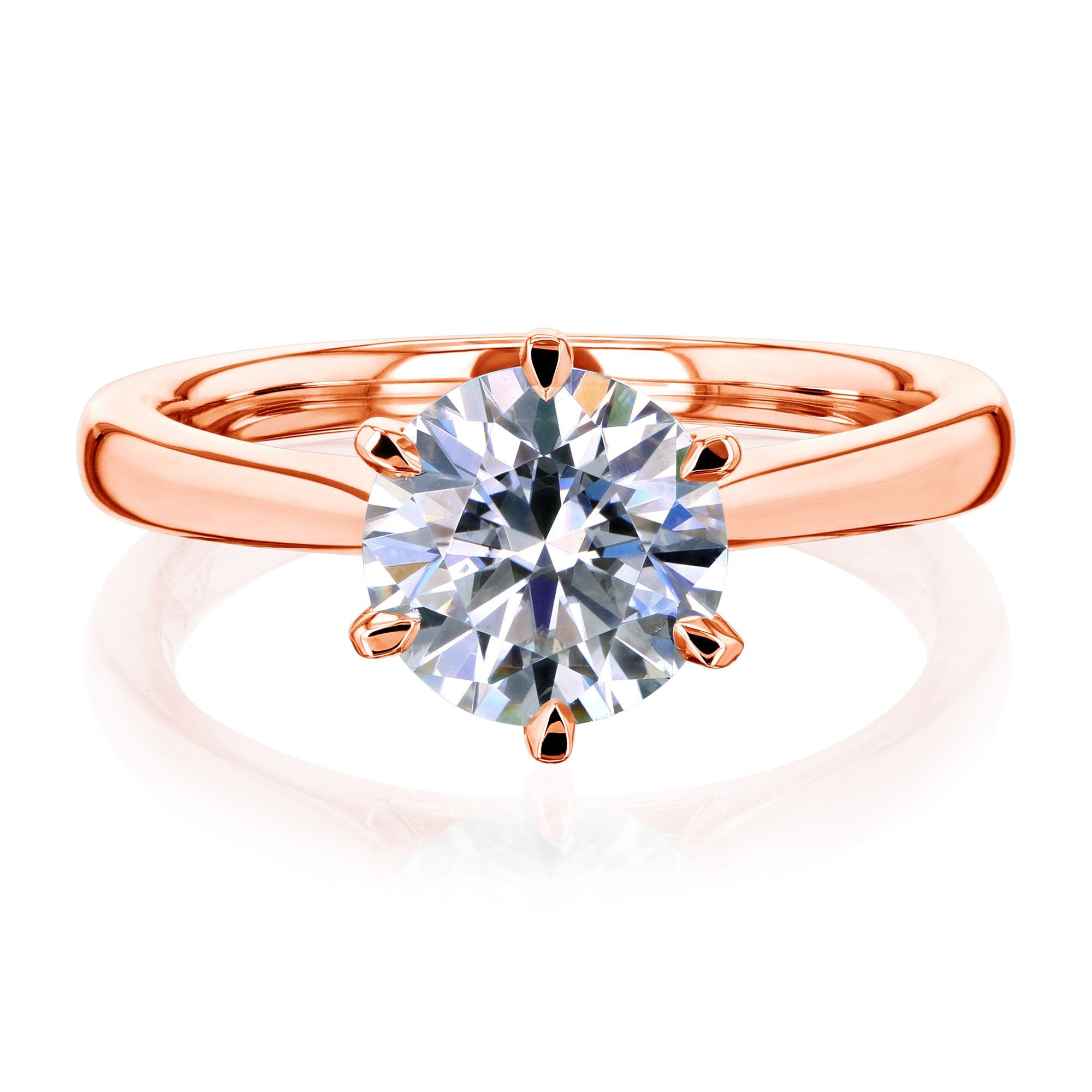 Discounts 1.5ct Round Forever One Moissanite 6-Prong Ring - rose-gold 5.0