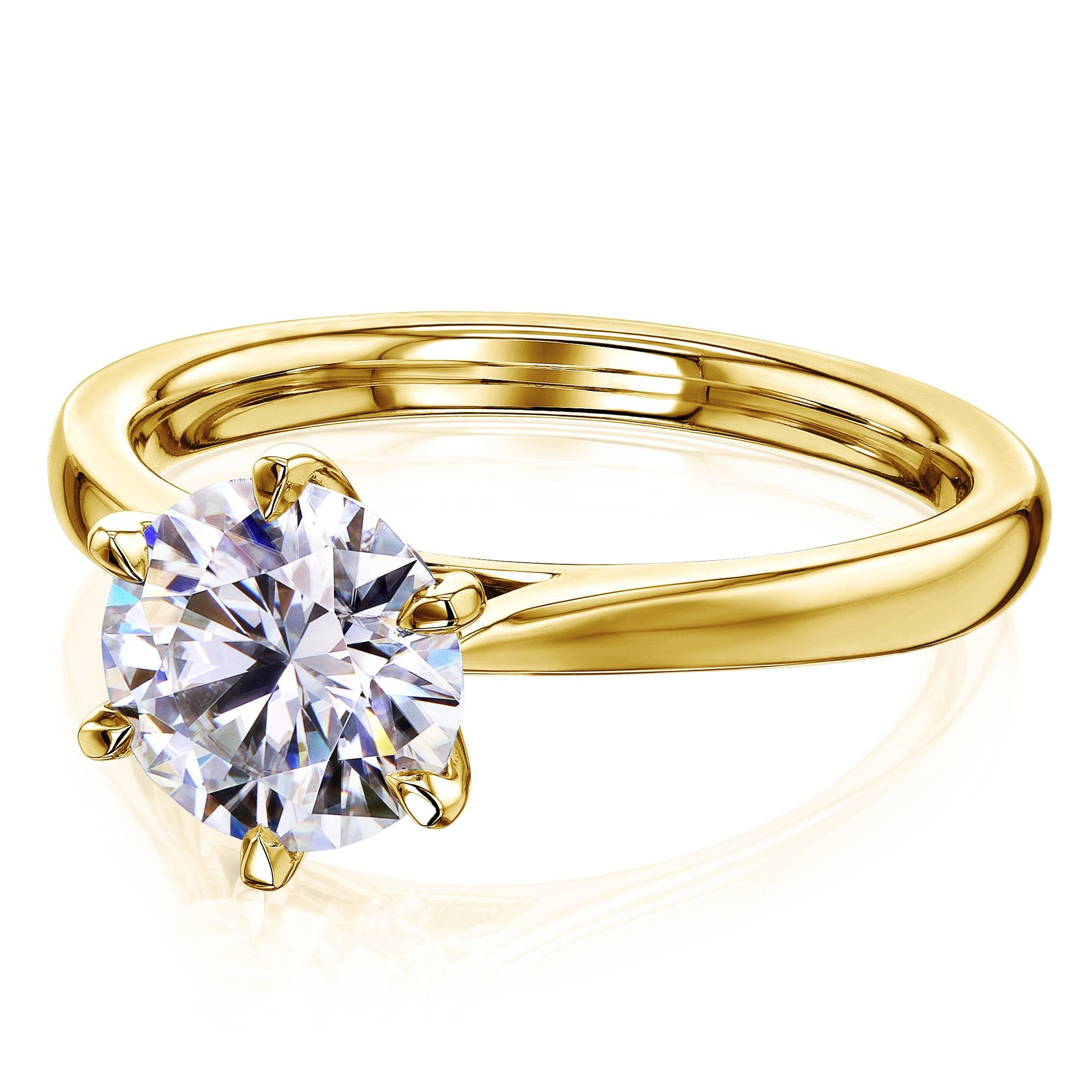 Discounts 1.5ct Round Forever One Moissanite 6-Prong Ring - yellow-gold 7.0