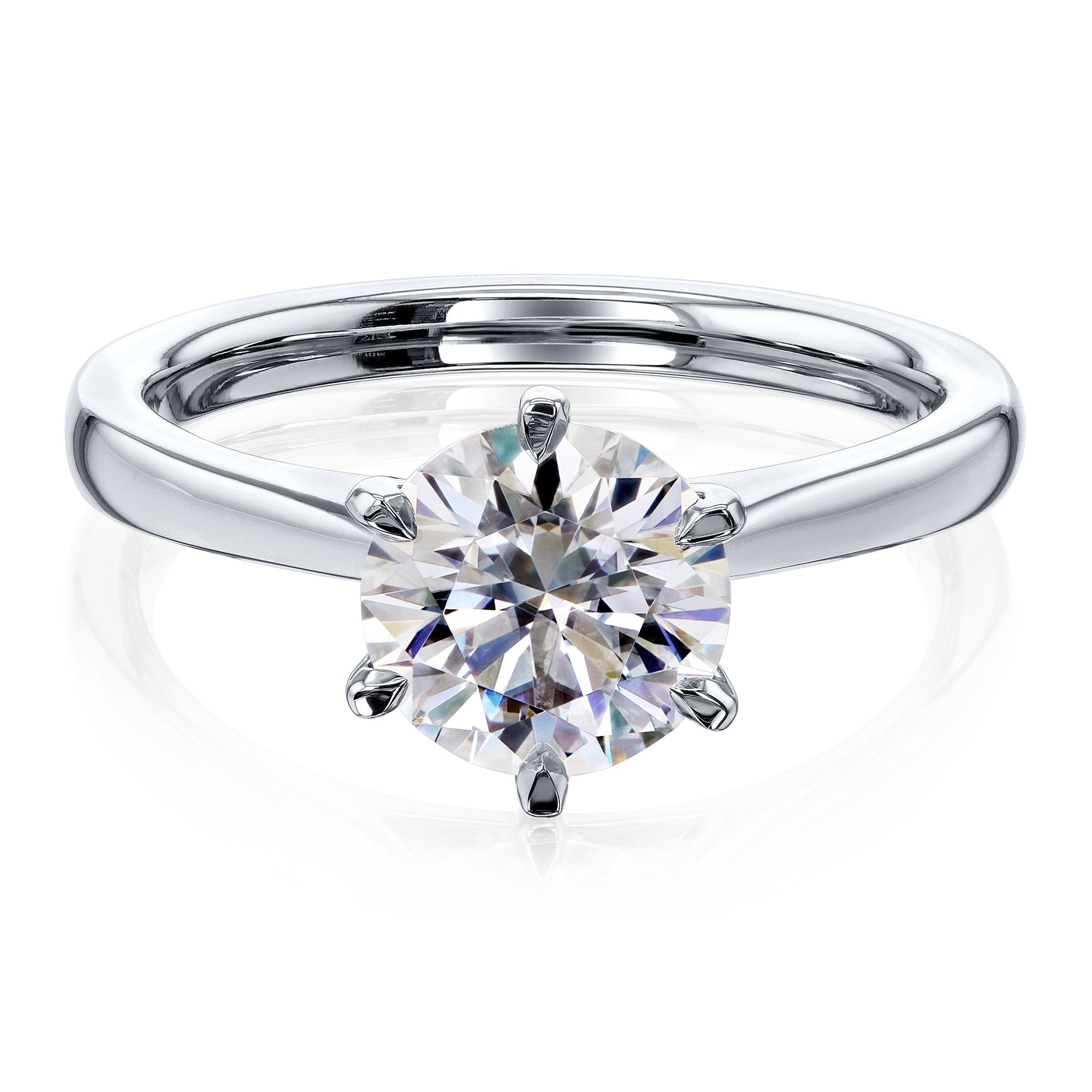 Discounts 1.5ct Round Forever One Moissanite 6-Prong Ring - white-gold 10.0