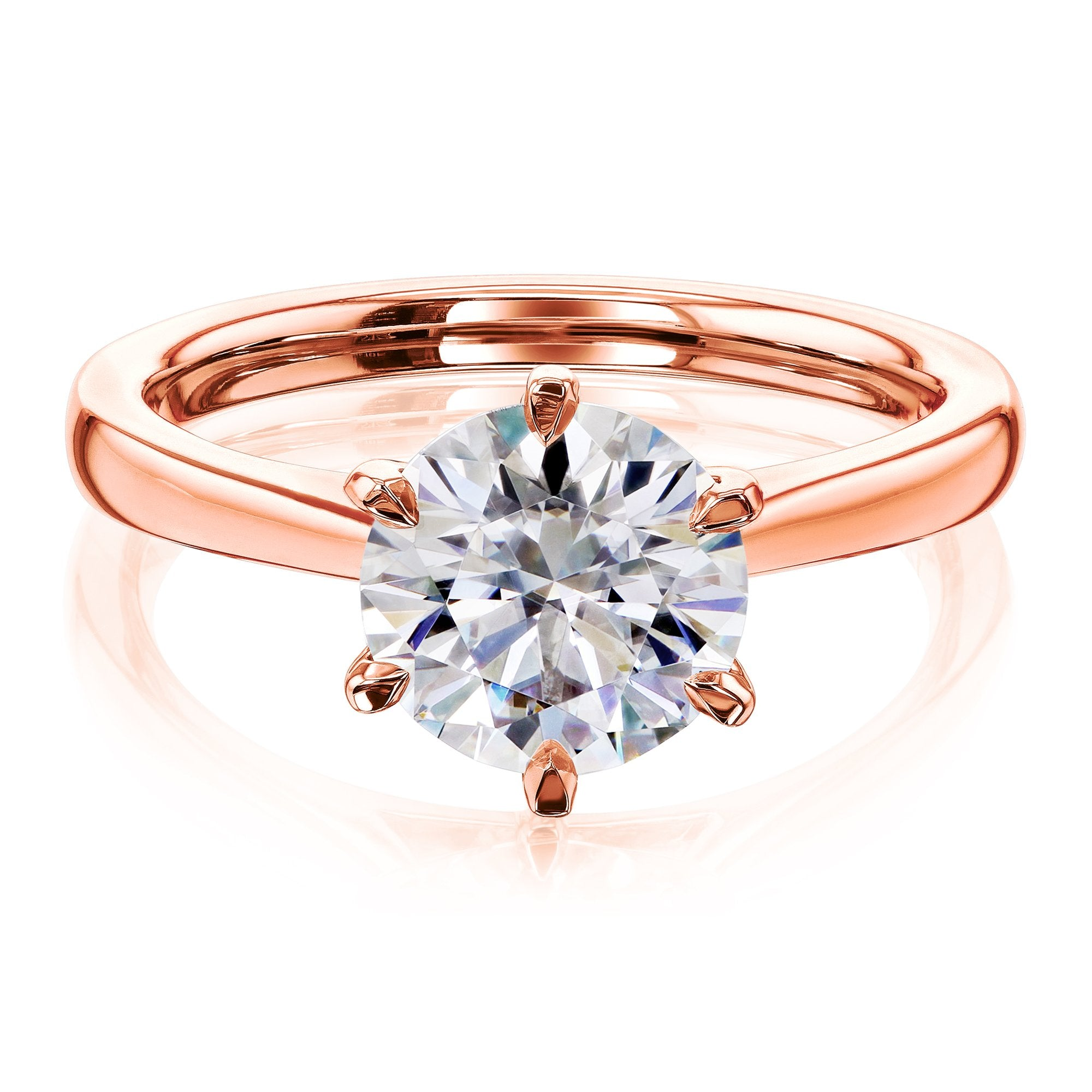 Coupons 1.9ct Round Forever One Moissanite 6-Prong Ring - rose-gold 5.5