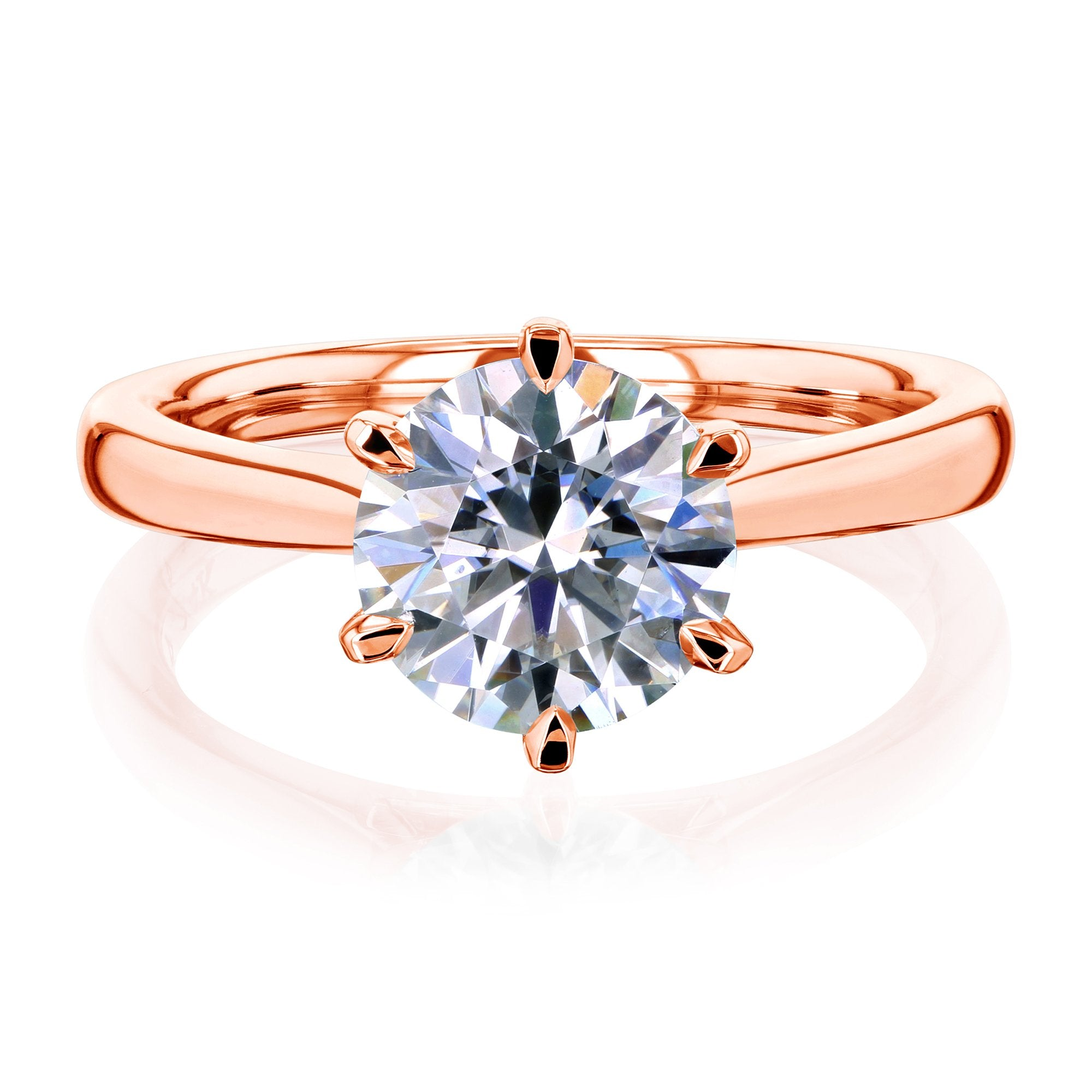 Coupons 1.9ct Round Moissanite 6-Prong Ring - rose-gold 9.0 Kobelli H-I