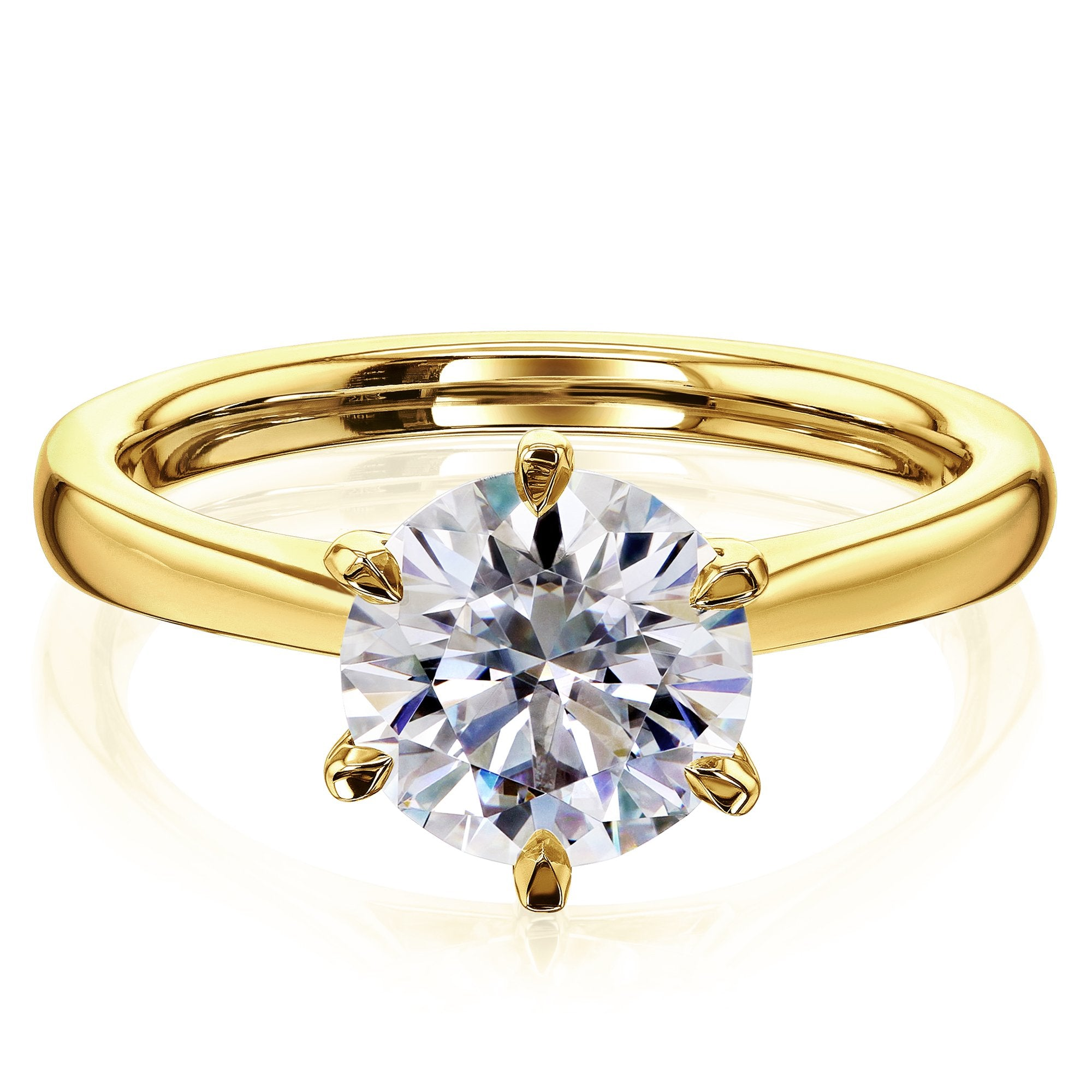 Cheap 1.9ct Round Forever One Moissanite 6-Prong Ring - yellow-gold 4.0