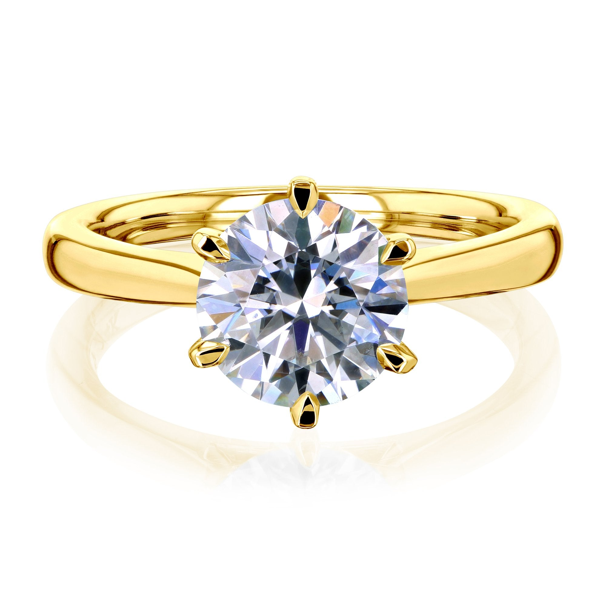 Discounts 1.9ct Round Moissanite 6-Prong Ring - yellow-gold 8.5 Kobelli H-I