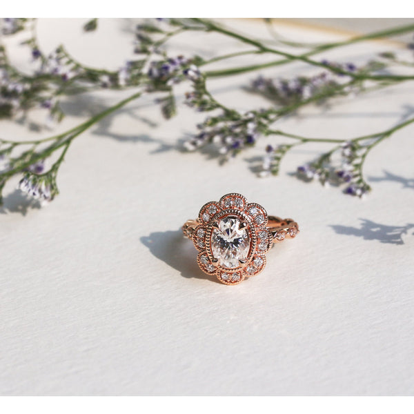 Kobelli Vintage Cathedral Rose Gold Engagement Ring