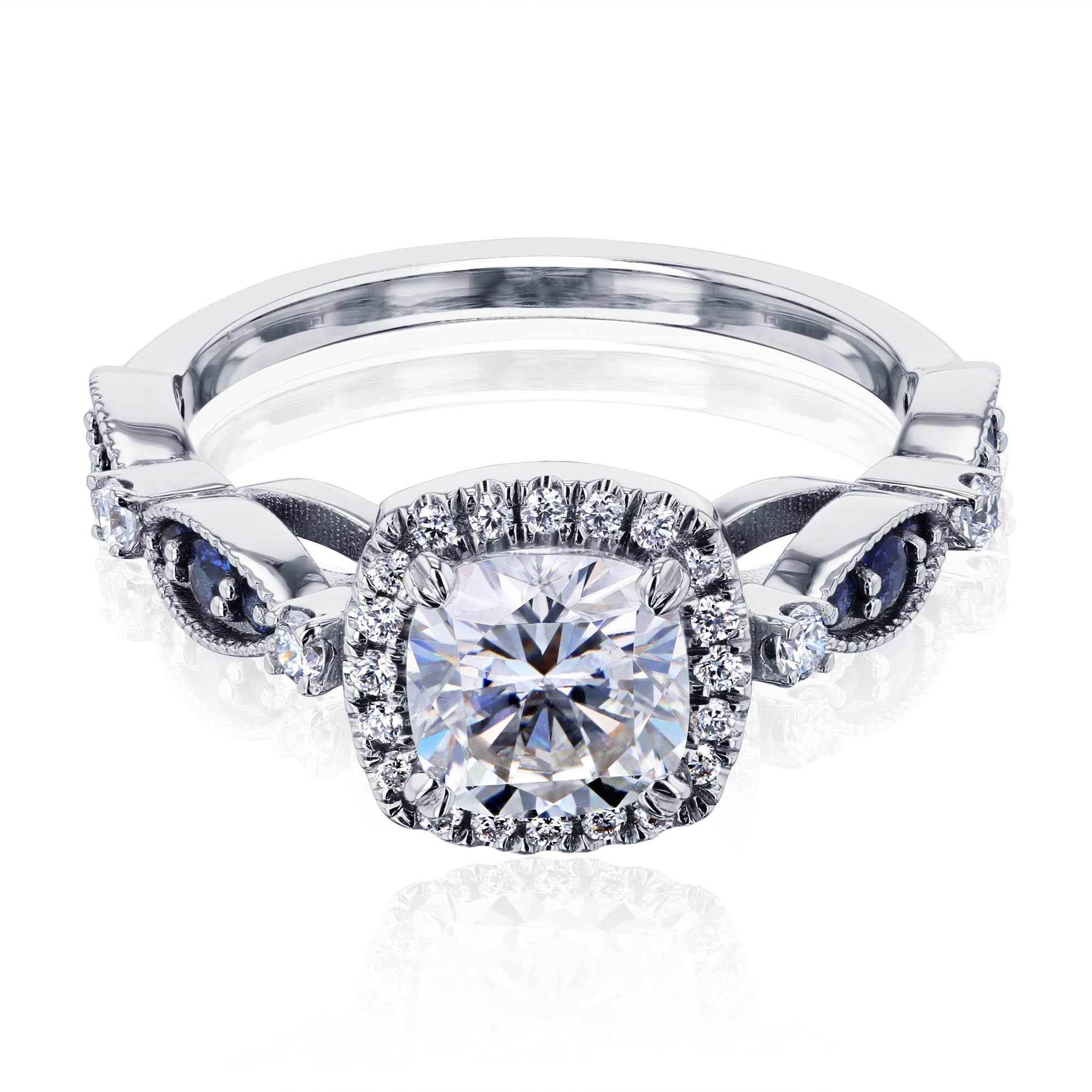 Compare Moissanite with Halo Eyelet Engagement Ring - white-gold 8.0 Forever One D-E-F
