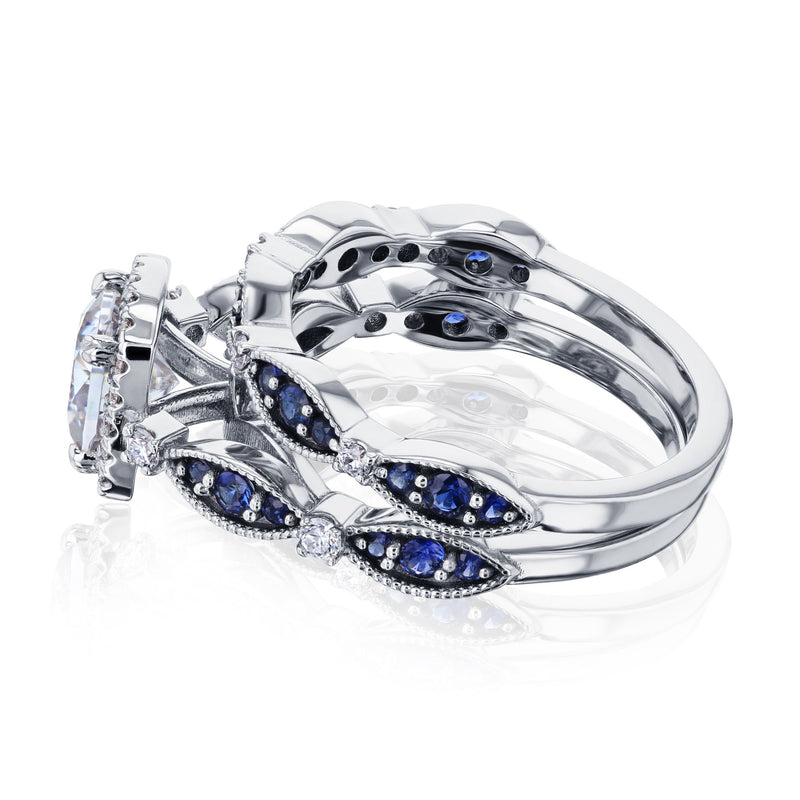 Kobelli Cushion Moissanite Wedding Ring Set