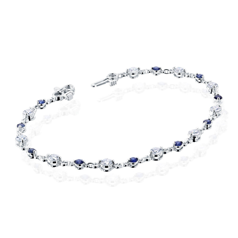 Kobelli White Gold Moissanite and Sapphire Bracelet