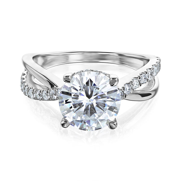 Kobelli 2 Carat Lab-grown Diamond Accented Ribbon Bypass Moissanite Engagement Ring