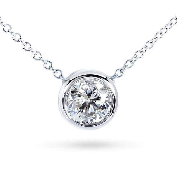 "Kobelli Round Bezel Moissanite Solitaire Necklace 14K Gold 16"" Chain (6.5mm 1ct DEW) MZ6698R-100_WG"
